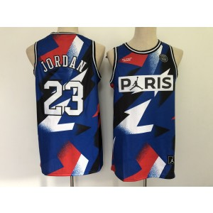 NBA Bulls 23 Paris Saint Germain Blue Men Jersey