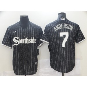 MLB White Sox Southside 7 Tim Anderson Black 2021 City Connect Nike Cool Base Men Jersey
