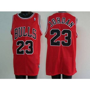 NBA Bulls 23 Michael Jordan Red Men Jersey