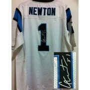 Nike Panthers 1 Cam Newton White Men's Embroidered Elite Autographed Jersey For Sale