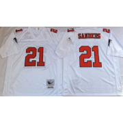 Mitchell&Ness Atlanta Falcons 21 Deion Sanders White Throwback Jersey