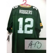 Nike Green Bay Packers No.12 Aaron Rodgers Green Male Embroidered Elite Autographed Jersey
