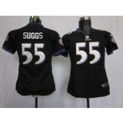 NFL Nike Baltimore Ravens 55 Terrell Suggs Black Women's Elite Jersey