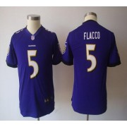 Youth Nike Baltimore Ravens 5 Joe Flacco Purple NFL Game Jersey