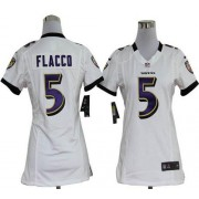 NFL Nike Baltimore Ravens 5 Joe Flacco White Women's Elite Jersey