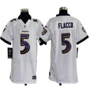 Youth Nike Baltimore Ravens 5 Joe Flacco White NFL Elite Jersey