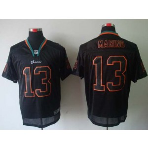 Nike Miami Dolphins No.13 Dan Marino Lights Out Black Elite Jersey