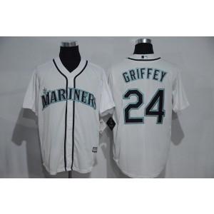MLB Mariners 24 Ken Griffey White Men Jersey