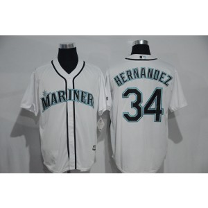 MLB Mariners 34 Felix Hernandez White Cool Base Men Jersey