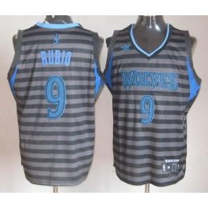 NBA Timberwolves 9 Ricky Rubio Black Grey Groove Men Jersey