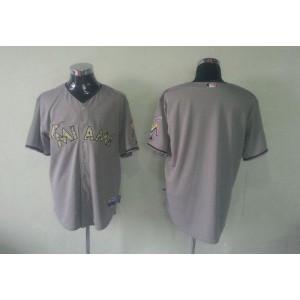 MLB Marlins Blank Grey USMC Cool Base Men Jersey