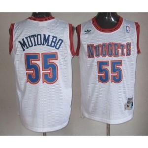 NBA Nuggets 55 Dikembe Mutombo White Swingman Throwback Men Jersey