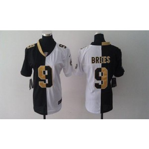 #9 Drew Brees Black/White Women's Embroidered NFL Elite Split Nike Saints  Jersey
