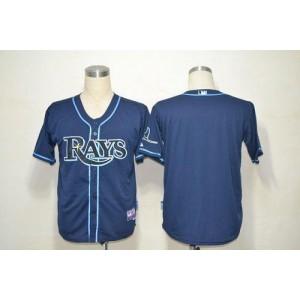 MLB Rays Blank Dark Blue Cool Base Men Jersey