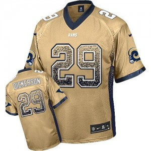 Nike St.Louis Rams No.29 Eric Dickerson Gold Embroidered Elite Drift Jersey