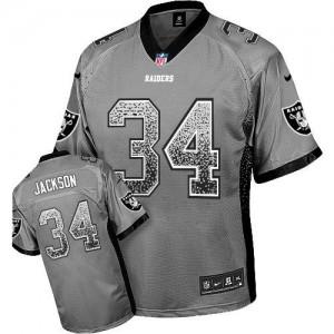 Nike Oakland Raiders No.34 Bo Jackson Grey Embroidered Elite Drift Fashion Jersey