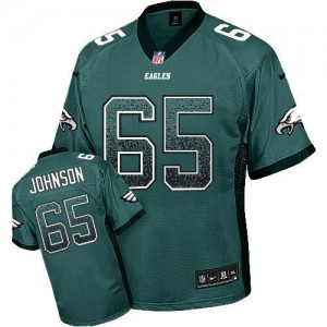 Nike Philadelphia Eagles No.65 Lane Johnson Midnight Green Embroidered Elite Drift Jersey