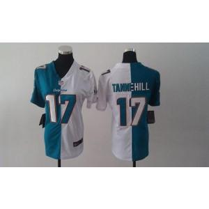 Nike Dolphins No.17 Ryan Tannehill Aqua Green/White Female's Embroidered Football Elite Split Jersey