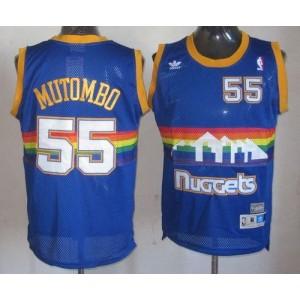 NBA Nuggets 55 Dikembe Mutombo Light Blue Throwback Men Jersey