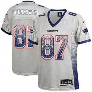 Nike Patriots #87 Rob Gronkowski Grey Women's Embroidered NFL Elite Drift Fashion Jersey