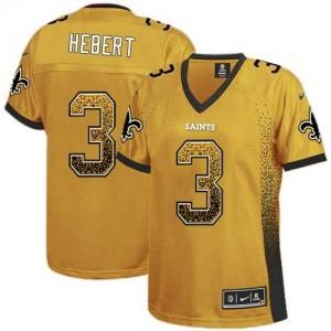 Nike Saints #3 Bobby Hebert Gold Women's Embroidered NFL Elite Drift Fashion Jersey