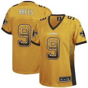 Nike Saints #9 Drew Brees Gold Women's Embroidered NFL Elite Drift Fashion Jersey