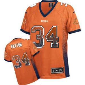 Nike Chicago Bears No.34 Walter Payton Orange Alternate Women's Football Inwrought Elite Drift Fashion Jersey