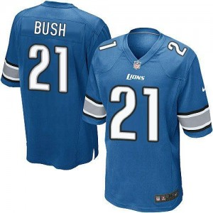 Nike Detroit Lions No.21 Reggie Bush Blue Male Embroidered Football Game Jersey
