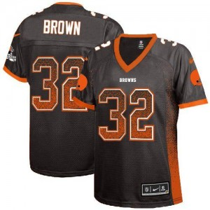 Nike Browns 32 Jim Brown Brown Team Color Embroidered Female Football Elite Drift Fashion Jersey For