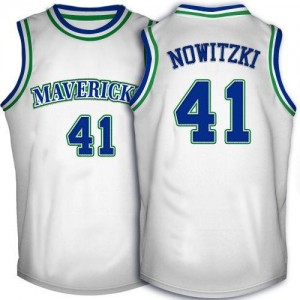NBA Mavericks 41 Dirk Nowitzki White Throwback Men Jersey
