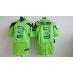 Nike Seattle Seahawks No.3 Russell Wilson Green Alternate Embroidered Elite Jersey