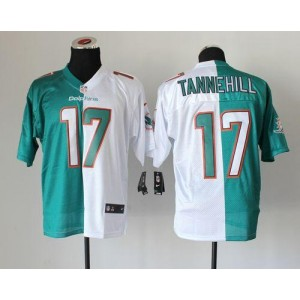 Nike Miami Dolphins No.17 Ryan Tannehill Aqua Green White Inwought Elite Split Jersey