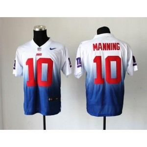 Nike New York Giants No.10 Eli Manning Royal Blue and White Elite Fadeaway Stitched Jersey
