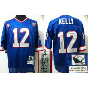 Authentic Mitchell And Ness Autographed Bills No.12 Jim Kelly Blue(35th) Embroidered Throwback Football Jersey Order