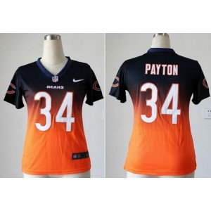 Bears No.34 Walter Payton Navy Blue Orange Women Stitched Football Fadeaway Elite Jersey Order