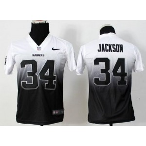 Nike Raiders #34 Bo Jackson White/Black Kid Stitched NFL Elite Fadeaway Fashion Jersey