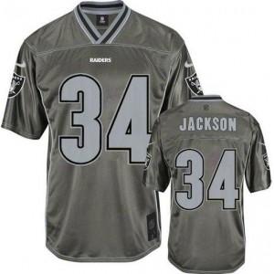 Authentic Nike Raiders No.34 Bo Jackson Grey Youth Stitched Football Elite Vapor Jersey