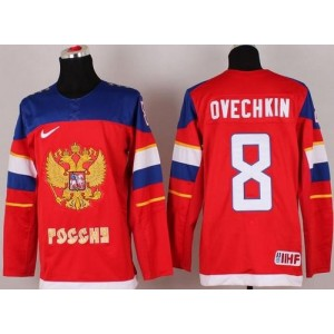 2014 Olympic Team Russia No.8 Alexander Ovechkin Red Hockey Jersey
