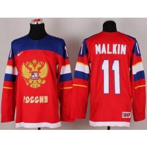 2014 Olympic Team Russia No.11 Evgeni Malkin Red Hockey Jersey