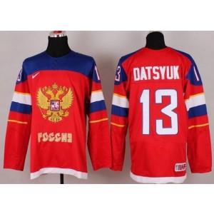 2014 Olympic Team Russia No.13 Pavel Datsyuk Red Hockey Jersey