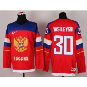 2014 Olympic Team Russia No.30 Andrei Vasilevski Red Hockey Jersey