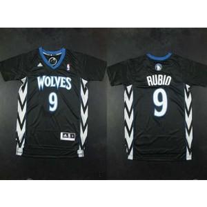 NBA Timberwolves 9 Ricky Rubio Black Alternate Men Jersey