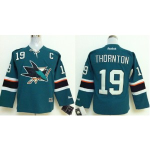 NHL Sharks 19 Joe Thornton With C Patch Blue Reebok Youth Jersey