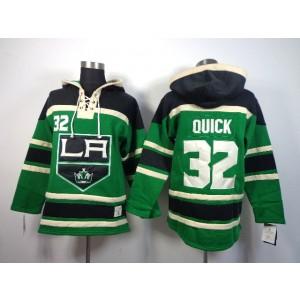 NHL Kings 32 Jonathan Quick Green Men Sweatshirt