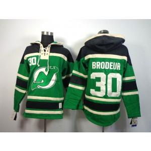 NHL Devils 30 Martin Brodeur Green Men Sweatshirt