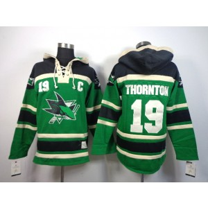 NHL Sharks 19 Joe Thornton Green With C Patch Men Sweatshirt