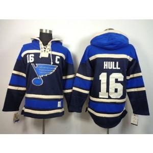 NHL Blues 16 Brett Hull Navy Blue With C Patch Men Sweatshirt