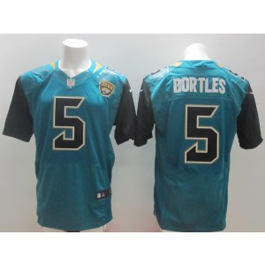 Jacksonville Jaguars No.5 Blake Bortles Green 2014 NFL Draft Pick Men's Football Stitched Elite Jersey