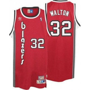 NBA Blazers 32 Bill Walton Red Throwback Men Jersey