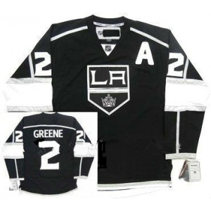 NHL Kings 2 Matt Greene Black With A Patch Men Jersey